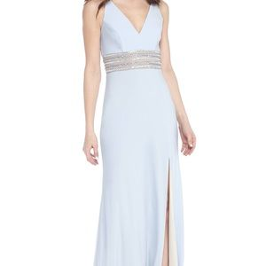 Xscape Baby Blue Beaded Gown